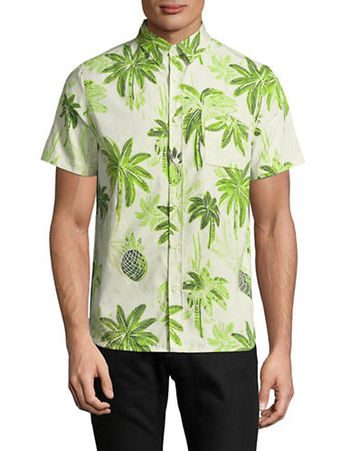Native Youth Palm Print Sport Shirt-GREEN-Medium