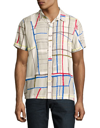 Native Youth Abstract Print Short Sleeve Shirt-GREY-Small