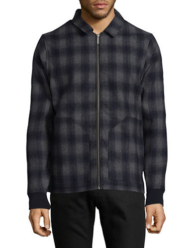 Native Youth Plaid Wool-Blend Zip Jacket-GREY-X-Large