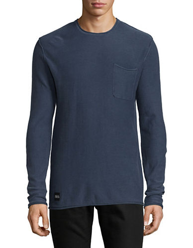 Native Youth Long Sleeve Micro Stripe Pocket Tee-NAVY-Small