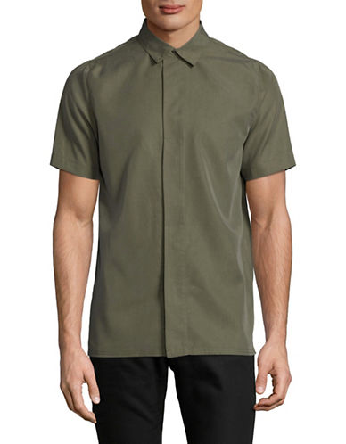 Native Youth Lyocell-Blend Fly Front Shirt-GREEN-Medium