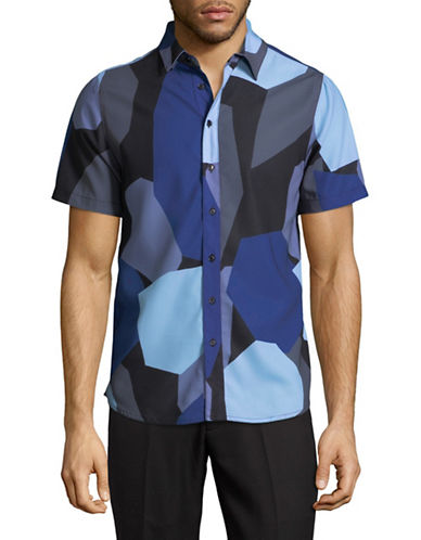 Native Youth Frangment Print Sport Shirt-NAVY-Small