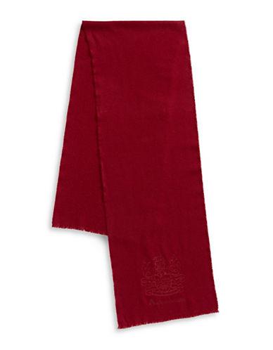 Aquascutum Bartek Embroidered Wool Scarf-RED-One Size