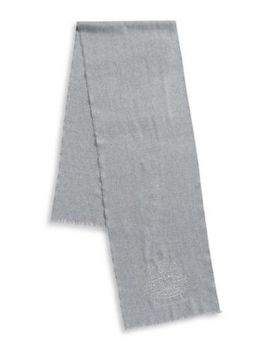 Aquascutum Bartek Embroidered Wool Scarf-GREY-One Size