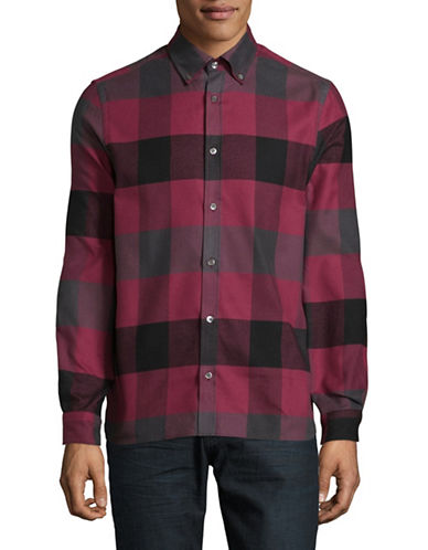 Aquascutum Rigby Cotton Flannel Sport Shirt-RED-Small