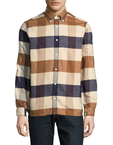 Aquascutum Rigby Cotton Flannel Sport Shirt-BEIGE-Large