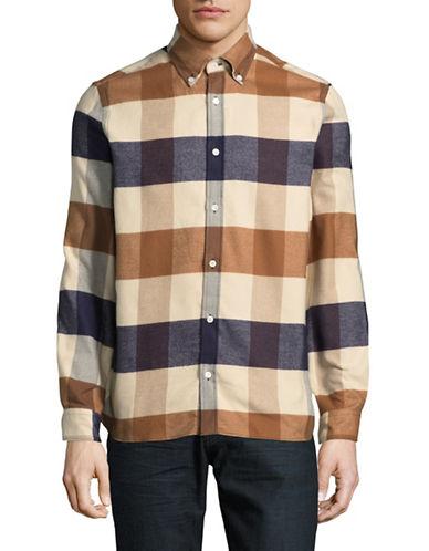 Aquascutum Rigby Cotton Flannel Sport Shirt-BEIGE-Small