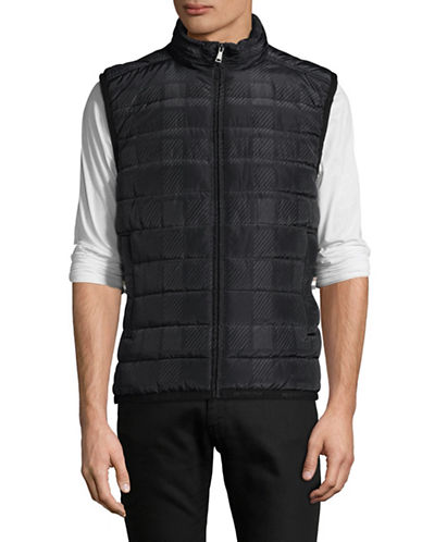 Aquascutum Vulcan Check Padded Vest-BLUE-Large