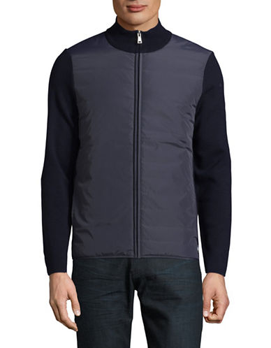 Aquascutum Wise Panelled Funnel Wool Jacket-BLUE-X-Large