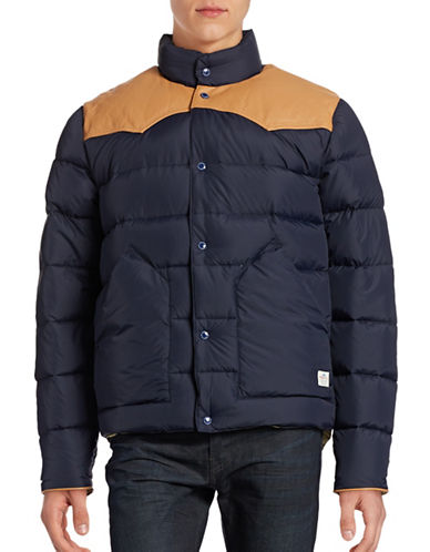 Penfield Leather-Yoke Down Jacket-NAVY-Small