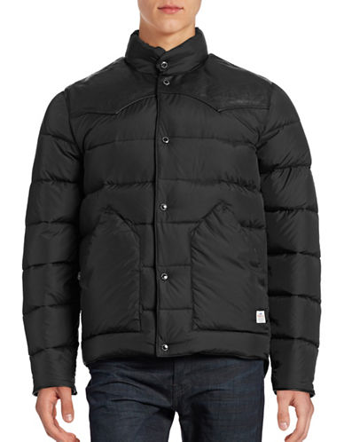 Penfield Leather-Yoke Down Jacket-BLACK-Medium 88729645_BLACK_Medium