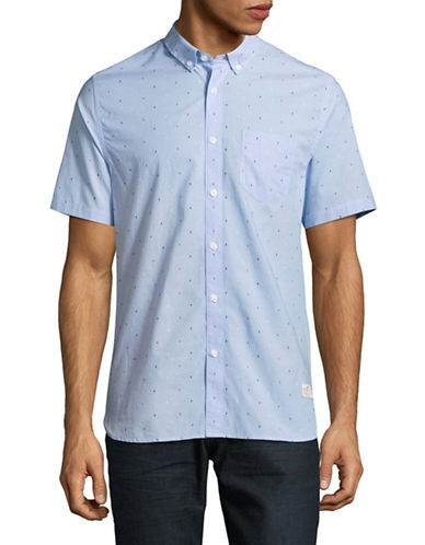 Penfield Cambria Woven Short Sleeve Shirt-BLUE-Large