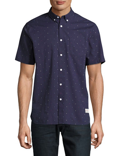 Penfield Cambria Woven Short Sleeve Shirt-NAVY-Large