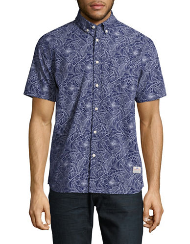 Penfield Classic-Fit Printed Short Sleeve Shirt-BLUE-Small