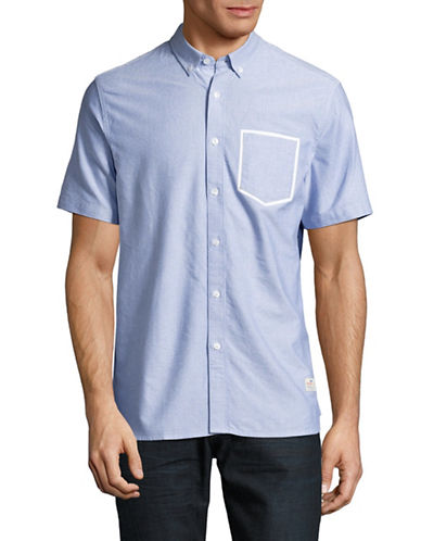 Penfield Fenton Short Sleeve Oxford Shirt-BLUE-Large