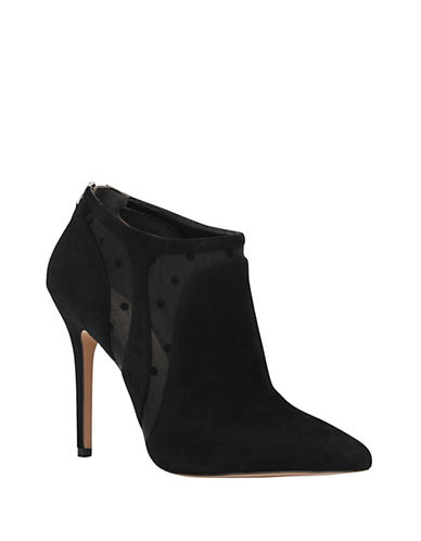 Reiss Bay Suede Swiss-Dot Booties-BLACK-38
