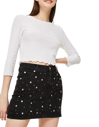 Topshop Cropped Long-Sleeved Top-WHITE-UK 6/US 2