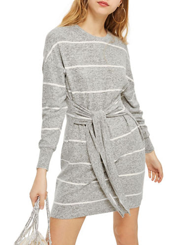 Topshop Stripe Cut and Sew Mini Dress-GREY-UK 12/US 8