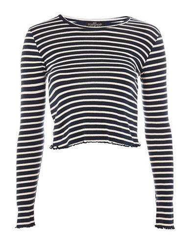 Topshop PETITE Striped Lettuce Edge T-Shirt-BLUE-UK 8/US 4