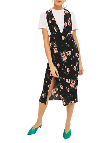 Topshop Posy Midi Pini-BLACK-UK 12/US 8