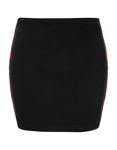 Topshop PETITE Side Striped A-Line Skirt-BLACK-UK 8/US 4 90059368_BLACK_UK 8/US 4