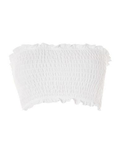 Topshop PETITE Shirred Bandeau Top-WHITE-UK 8/US 4 90024596_WHITE_UK 8/US 4
