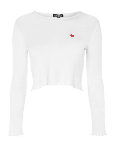 Topshop PETITE Heart Lettuce T-Shirt-WHITE-UK 4/US 0