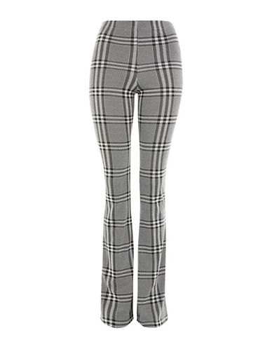 Topshop Check Flared Trousers-MONOCHROME-UK 14/US 10