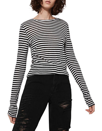 Topshop Striped Slubby T-Shirt by Boutique-MONOCHROME-UK 14/US 10