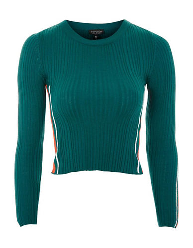 Topshop Sporty Side Striped Knitted Top-TEAL-UK 8/US 4 90053849_TEAL_UK 8/US 4