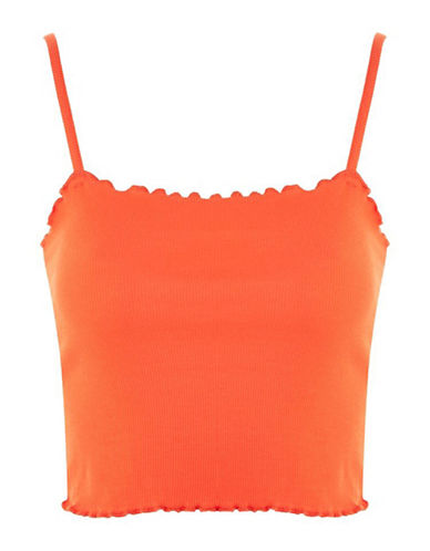 Topshop Riley Lettuce Camisole Top-ORANGE-UK 16/US 12