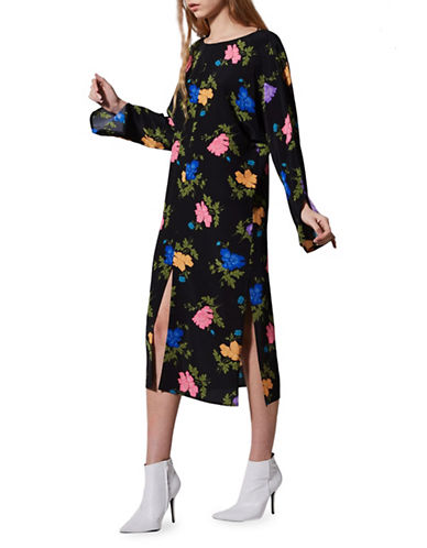 Topshop Batwing Silk Floral-Printed Midi Dress by Boutique-MULTI-UK 12/US 8