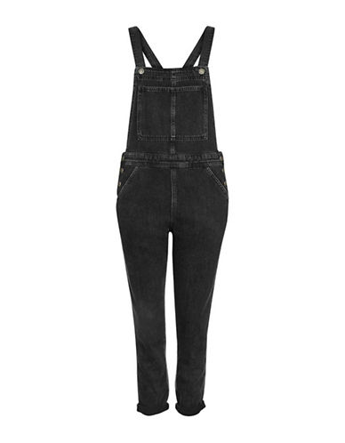 Topshop MOTO Clean Denim Dungarees-WASHED BLACK-UK 12/US 8