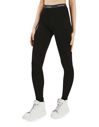 Topshop PETITE Elastic Leggings-BLACK-UK 10/US 6