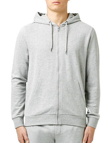 Topman Marl Zip-Up Hoodie-GREY-Small 88756915_GREY_Small