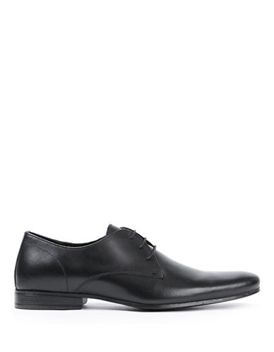 Topman Breeze Derby Leather Shoes-BLACK-EU 45/US 12