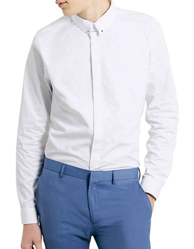Topman Premium Pin Collar Sport Shirt-WHITE-Small