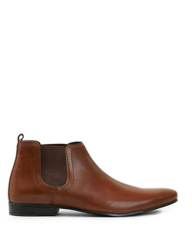 Topman Breeze Leather Chelsea Boots-BROWN-EU 44/US 11