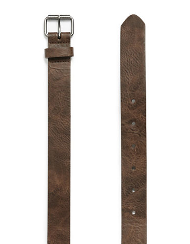 Topman Leather-Look Belt-LIGHT BROWN-Large/X-Large