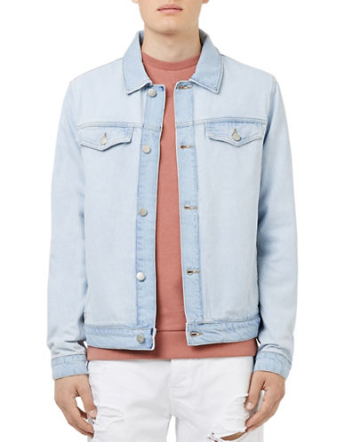 Topman Two-Tone Denim Jacket-BLUE-Small 88501387_BLUE_Small