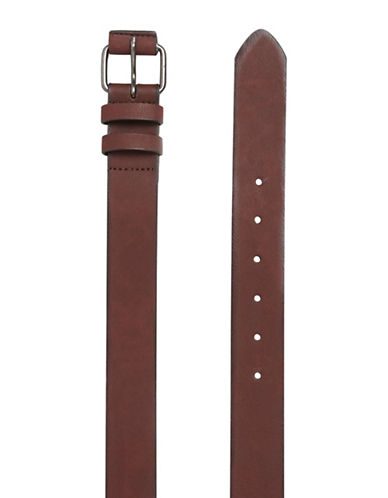 Topman Stan Faux Leather Skinny Belt-LIGHT BROWN-Small