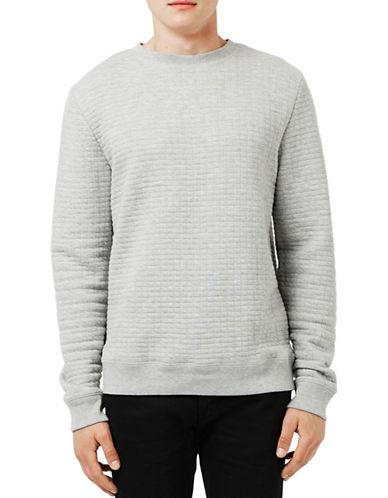 Topman Quilted Crew Neck Sweatshirt-GREY-X-Large 88637255_GREY_X-Large