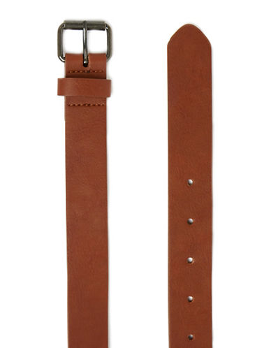 Topman Faux Leather Slim Belt-LIGHT BROWN-Large/X-Large