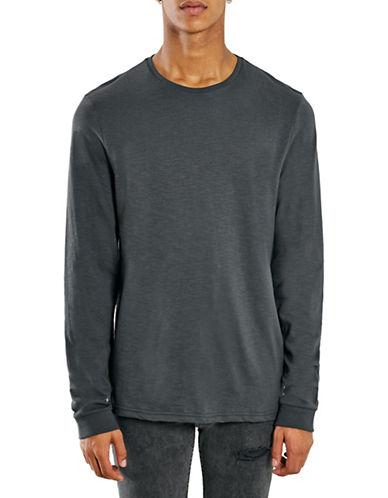 Topman Washed Crew Neck Sweatshirt-BLACK-Large 88371810_BLACK_Large