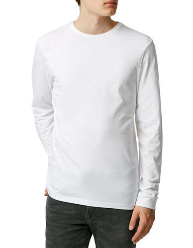 Topman Crew Neck Long Sleeve T-Shirt-WHITE-X-Large 88371815_WHITE_X-Large