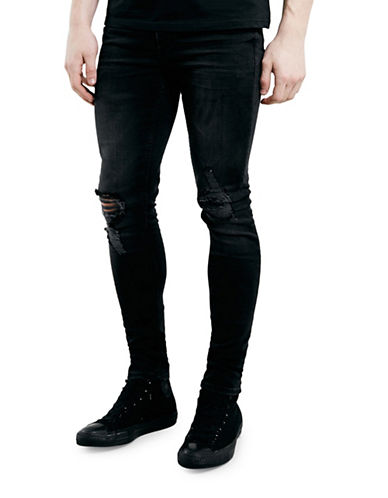 Topman Goldie Ripped Skinny Jeans-BLACK-32 Long