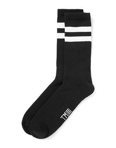 Topman Striped Logo Socks-BLACK-One Size