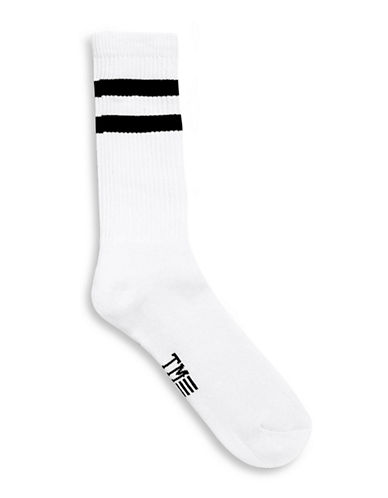Topman Striped Tube Socks-WHITE-One Size