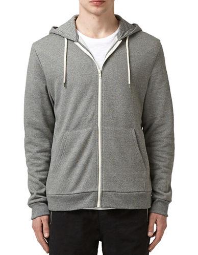 Topman Textured Zip-Up Hoodie-GREY-X-Large 88393629_GREY_X-Large