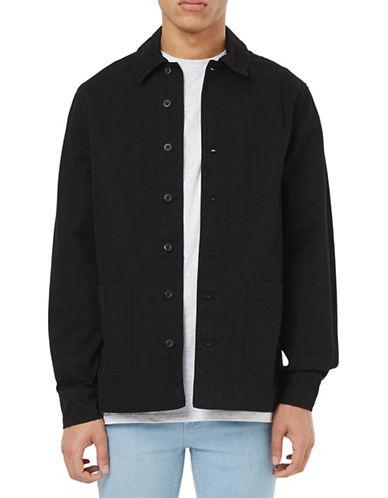 Topman Worker Denim Overshirt-BLACK-Small